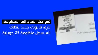 Photo of في حق النفاذ الى المعلومة: خرق قانوني جديد ينظاف الى سجل منظومة 25 جويلية